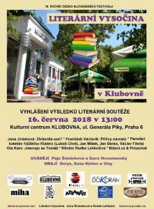 Literární Vysočina v Klubovně @ Kulturní centrum Klubovna | Hlavní město Praha | Česko